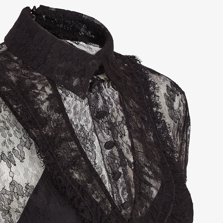 FENDI SHIRT - Black lace shirt - view 3 detail