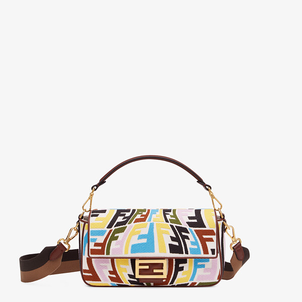 Multicolour embroidered canvas bag