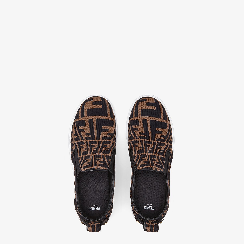 FENDI FENDI RISE - Brown fabric slip ons - view 4 detail