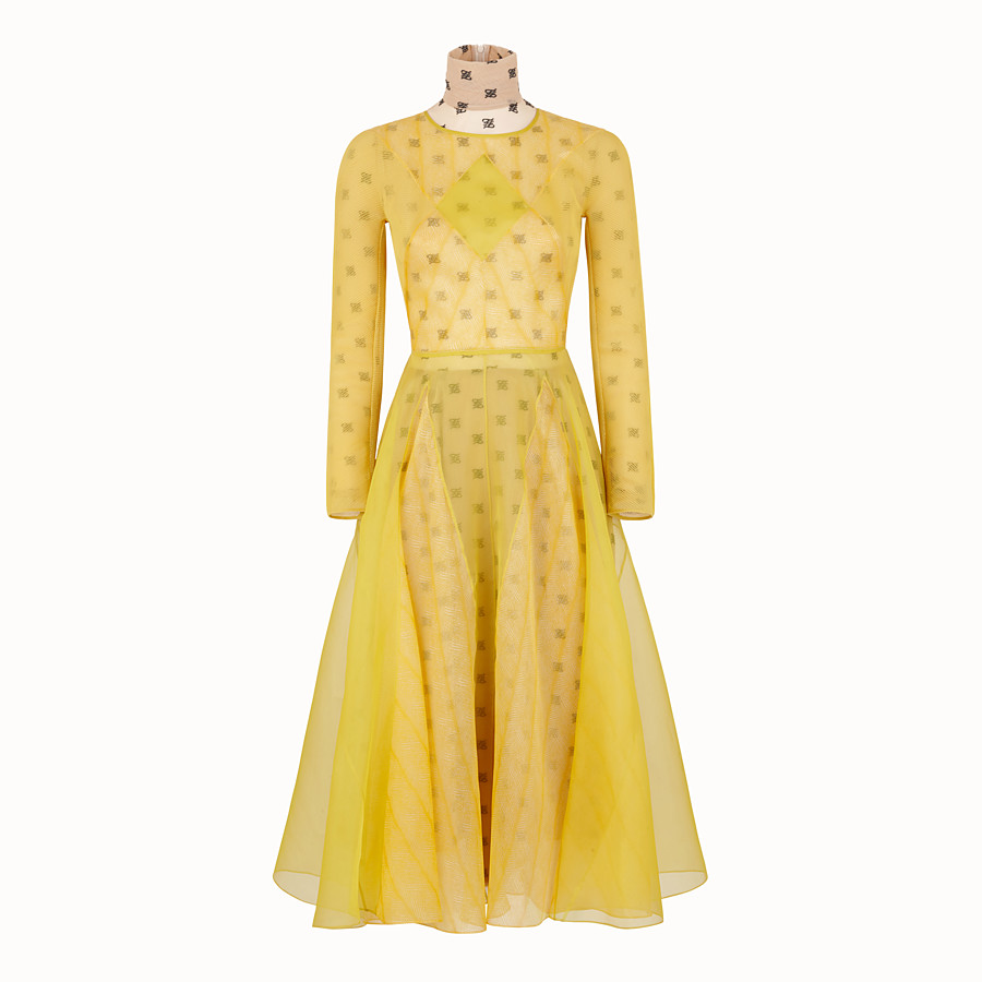 FENDI KLEID - Kleid aus Organza in Gelb - view 1 detail