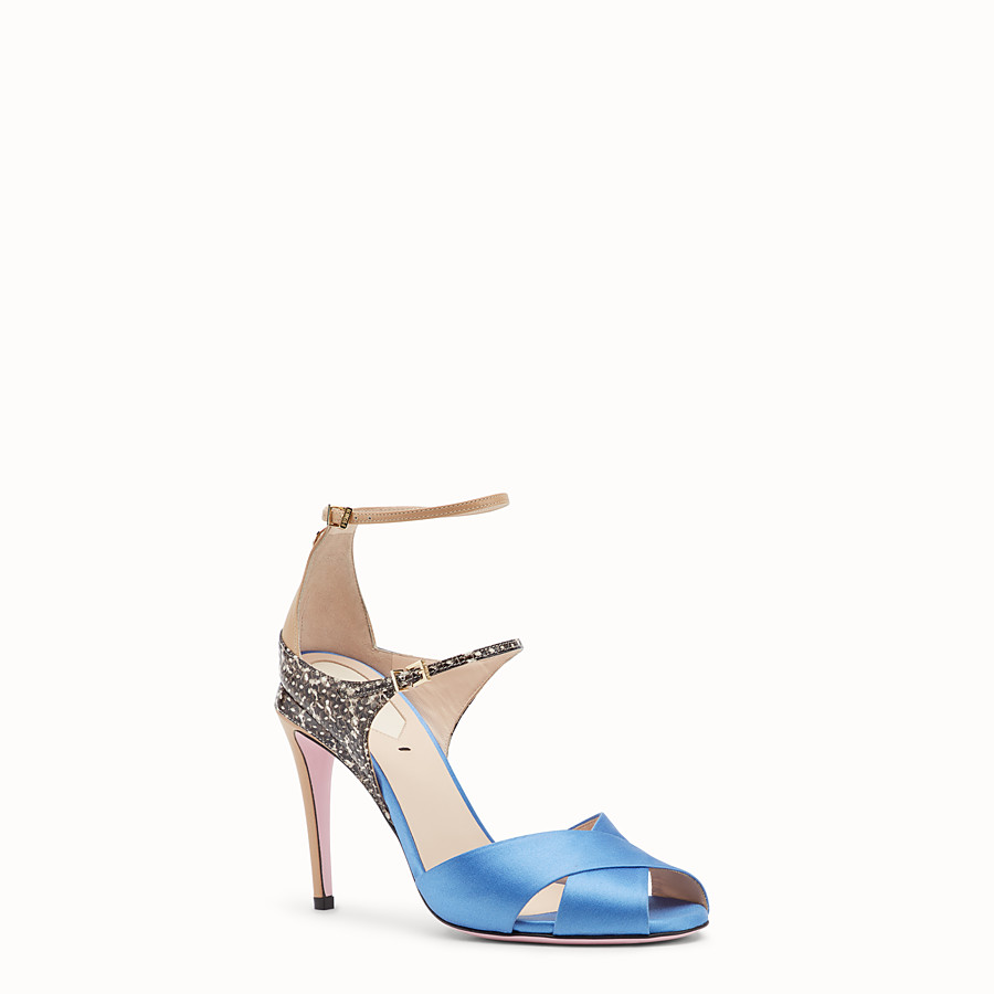 FENDI SANDALES - Sandales en satin bleu clair - view 2 detail