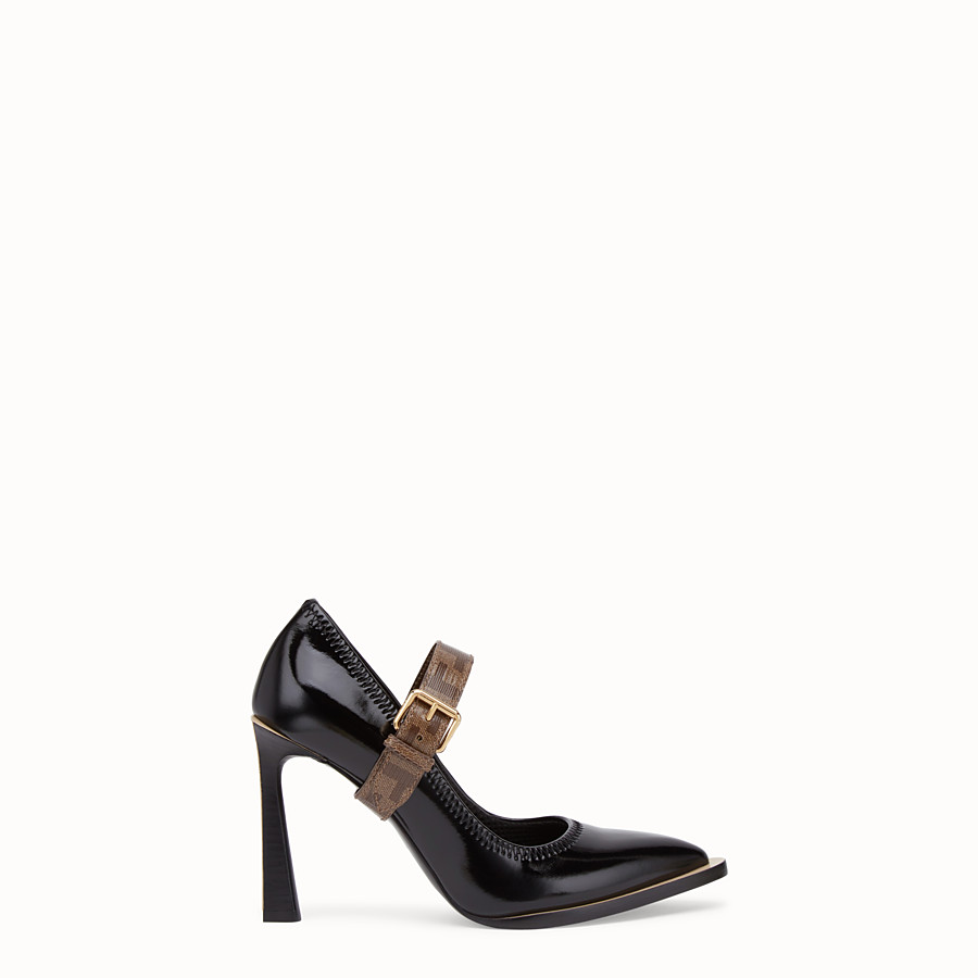 FENDI COURT SHOES - Mary Jane in glossy black neoprene - view 1 detail