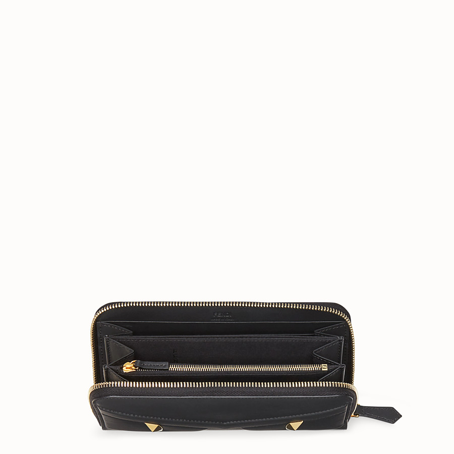 FENDI ZIP-AROUND - Black leather wallet - view 3 detail