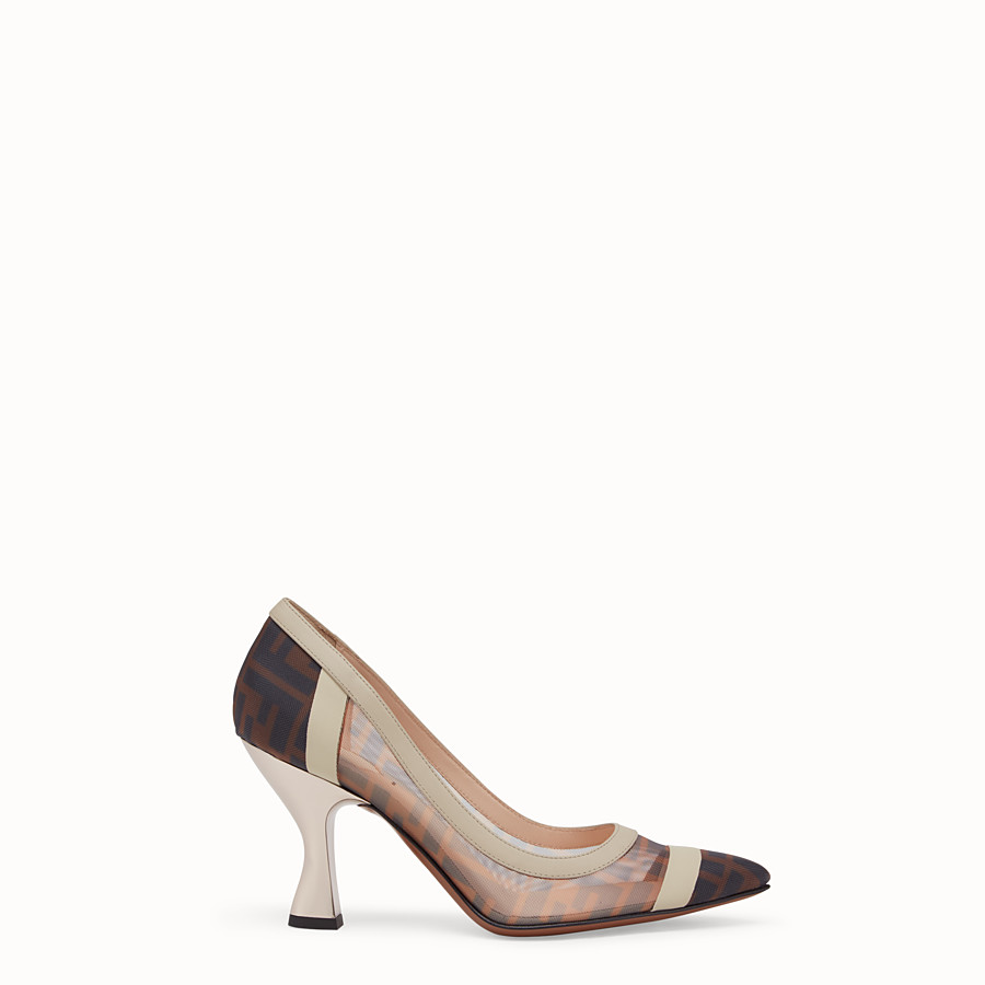 FENDI COURT SHOES - Court shoes in mesh and brown leather - view 1 detail