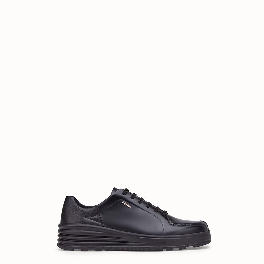 FENDI SNEAKERS - Black leather low-tops - view 1 detail