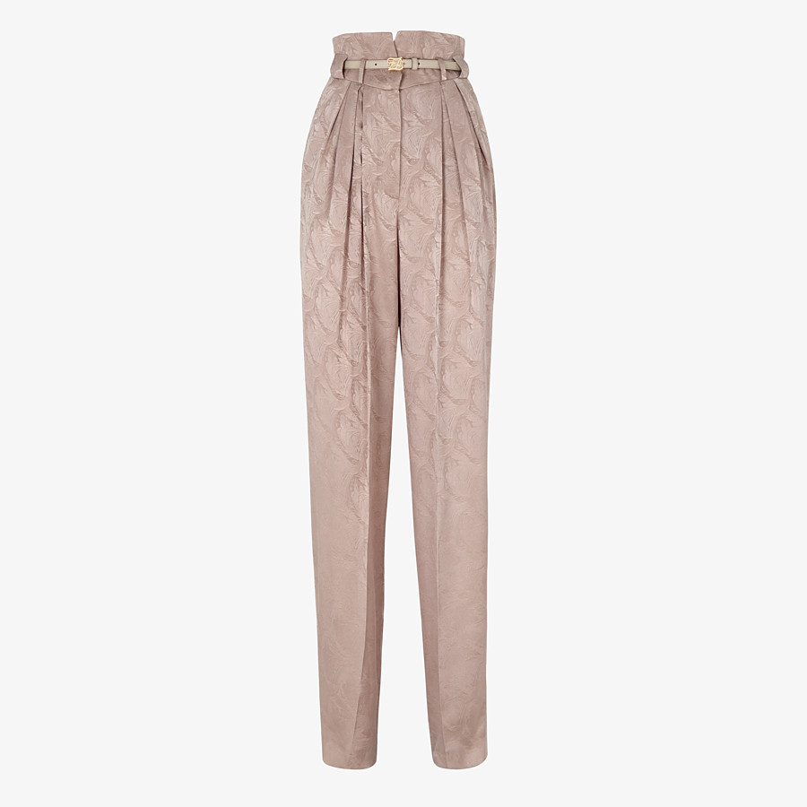 FENDI TROUSERS - Beige silk trousers - view 1 detail