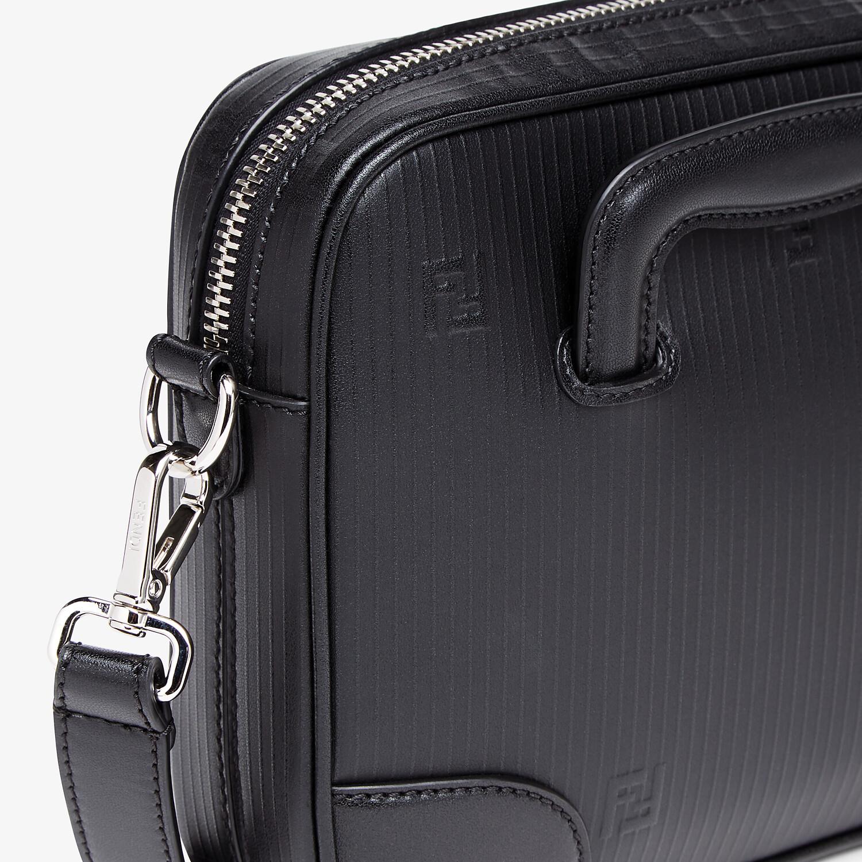 FENDI COMPACT MESSENGER BAG - Black leather bag - view 5 detail