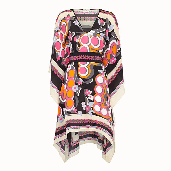 FENDI LONG KAFTAN - Multicolour silk dress - view 1 small thumbnail
