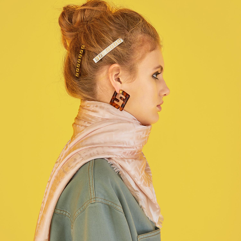 FENDI HAIR CLIP - White metal hair clip - view 3 detail