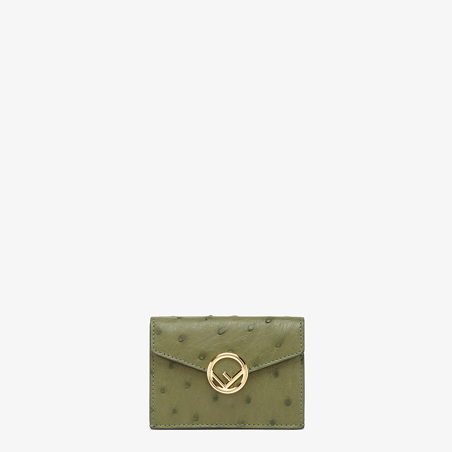 FENDI MICRO TRIFOLD - Wallet in green ostrich leather - view 1 detail