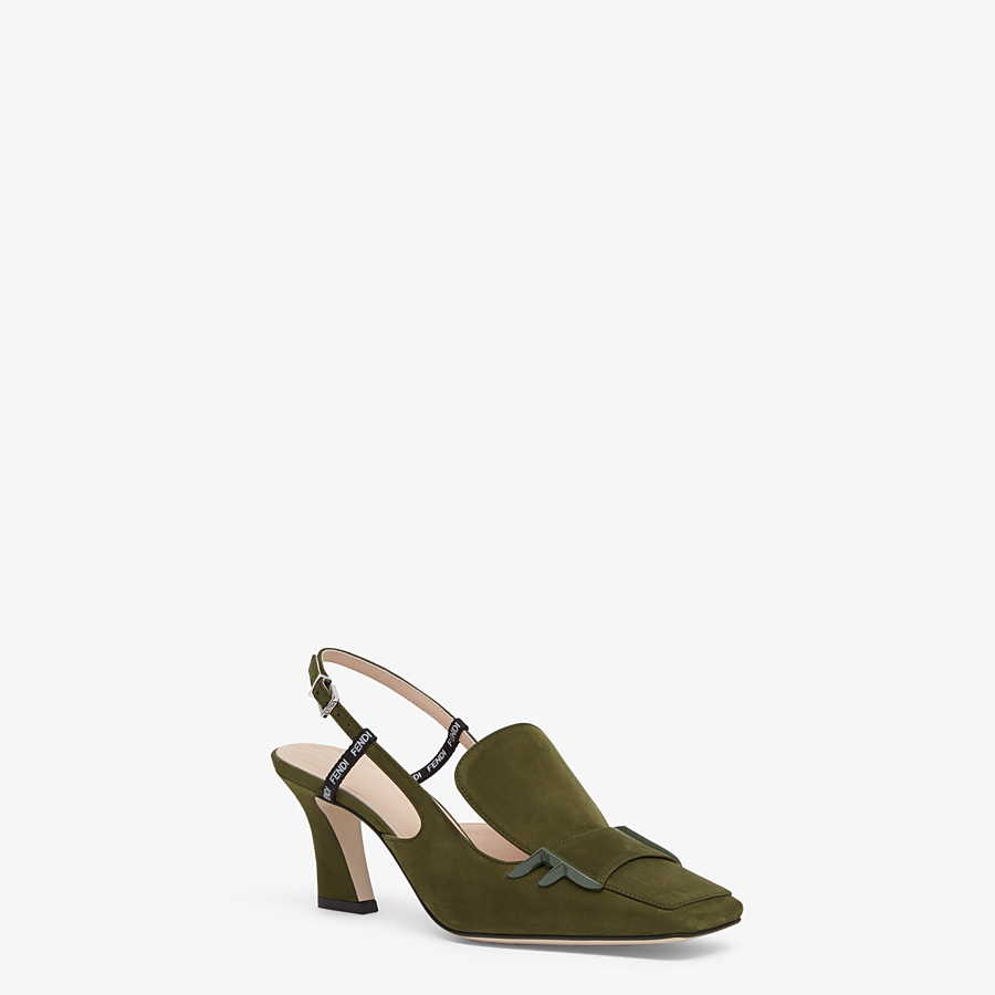 FENDI SLINGBACKS - Green nubuck slingbacks - view 2 detail