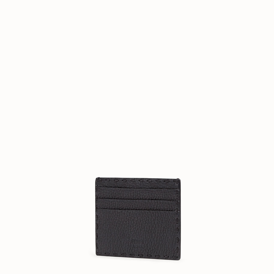 FENDI CARD HOLDER - Black Roman leather card holder with exotic leather details - view 2 detail