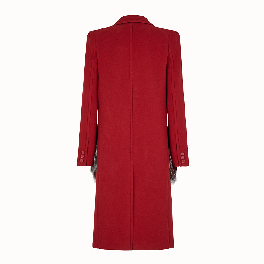 FENDI OVERCOAT - Red wool outerwear - view 2 detail