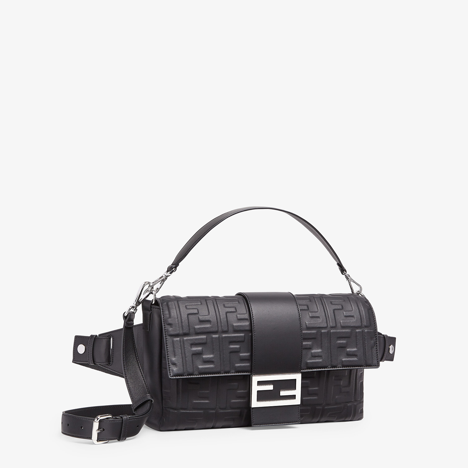 FENDI BAGUETTE LARGE - Black nappa leather bag - view 2 detail