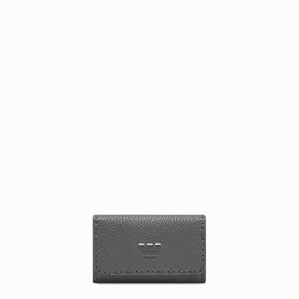 FENDI KEY RING - Grey Romano leather pouch - view 1 small thumbnail