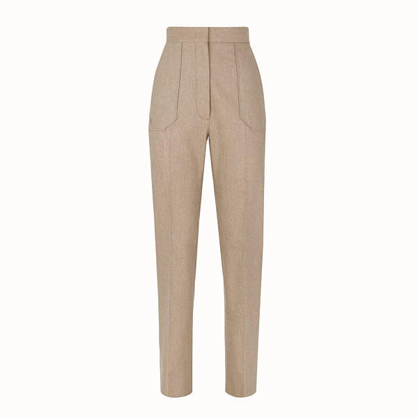 FENDI TROUSERS - Beige cashmere trousers - view 1 small thumbnail