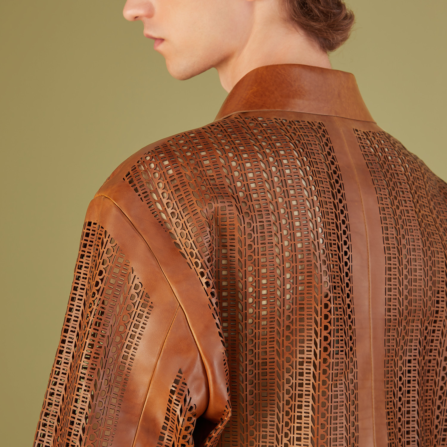 FENDI JACKET - Brown leather blouson - view 4 detail
