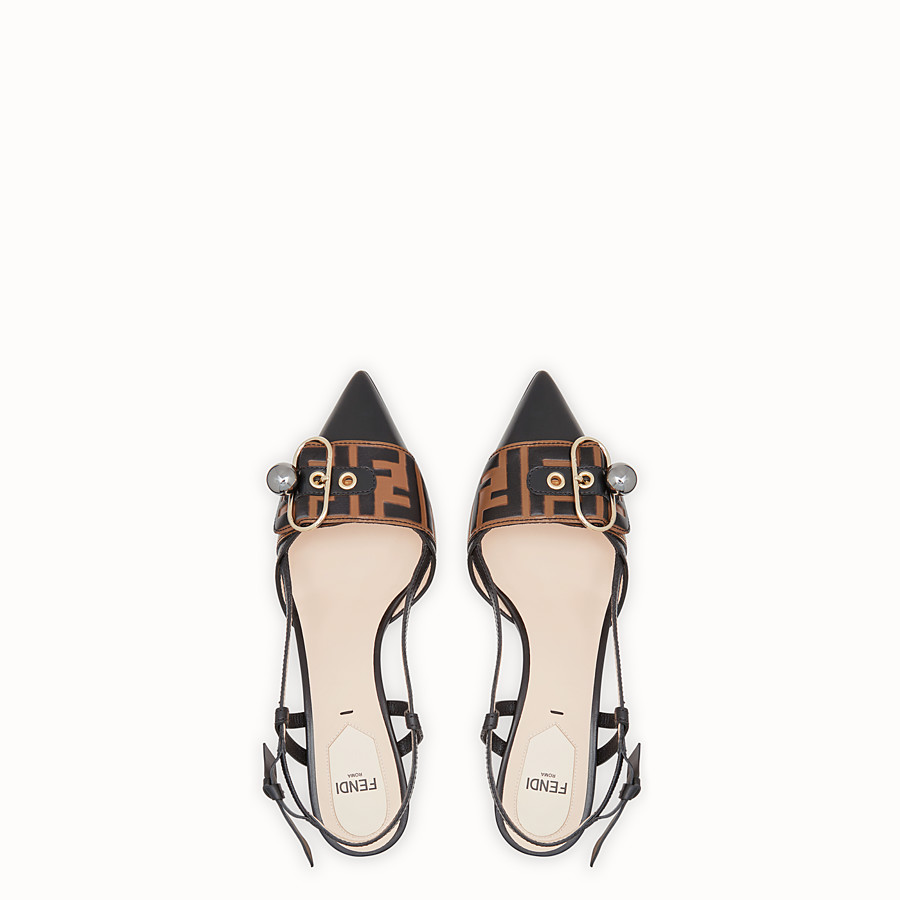 FENDI COURT SHOES - Black leather slingbacks - view 4 detail