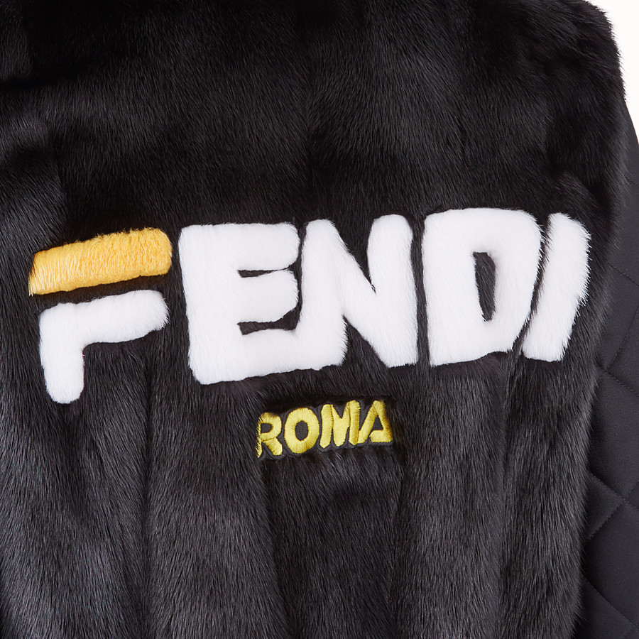 FENDI BOMBER - Black fabric and fur bomber jacket - view 4 detail