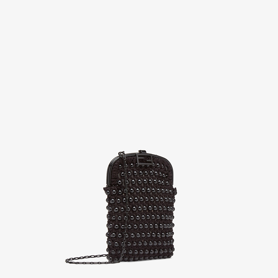 FENDI BAGUETTE PHONE BAG - Black lace mini-bag - view 2 detail