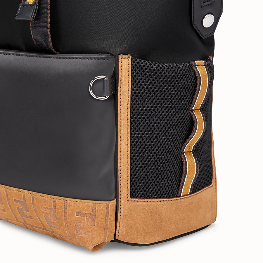 FENDI BACKPACK - Black nylon and leather backpack - view 4 detail