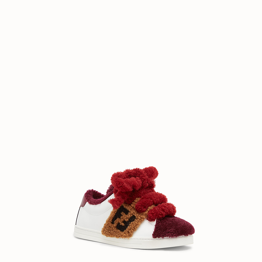 FENDI SNEAKERS - Multicolour leather and sheepskin sneakers - view 2 detail