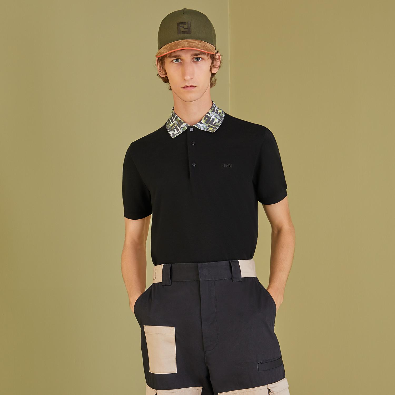 FENDI T-SHIRT - Black cotton polo shirt - view 4 detail