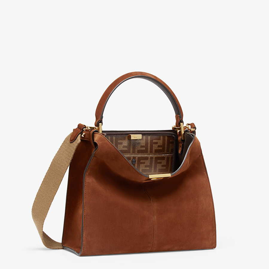 FENDI PEEKABOO X-LITE MEDIUM - Borsa in suede marrone - vista 4 dettaglio