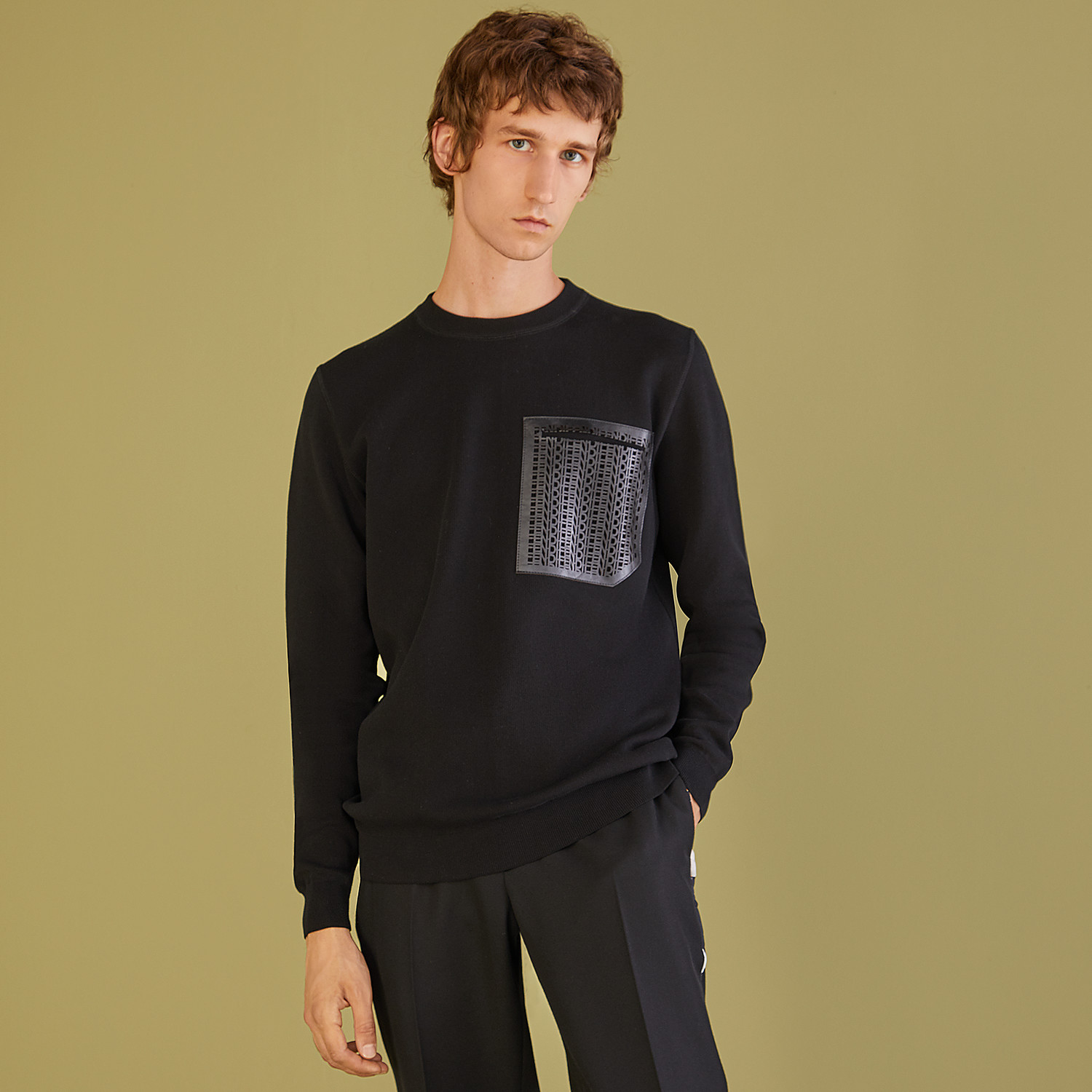 FENDI PULLOVER - Black cotton jumper - view 4 detail