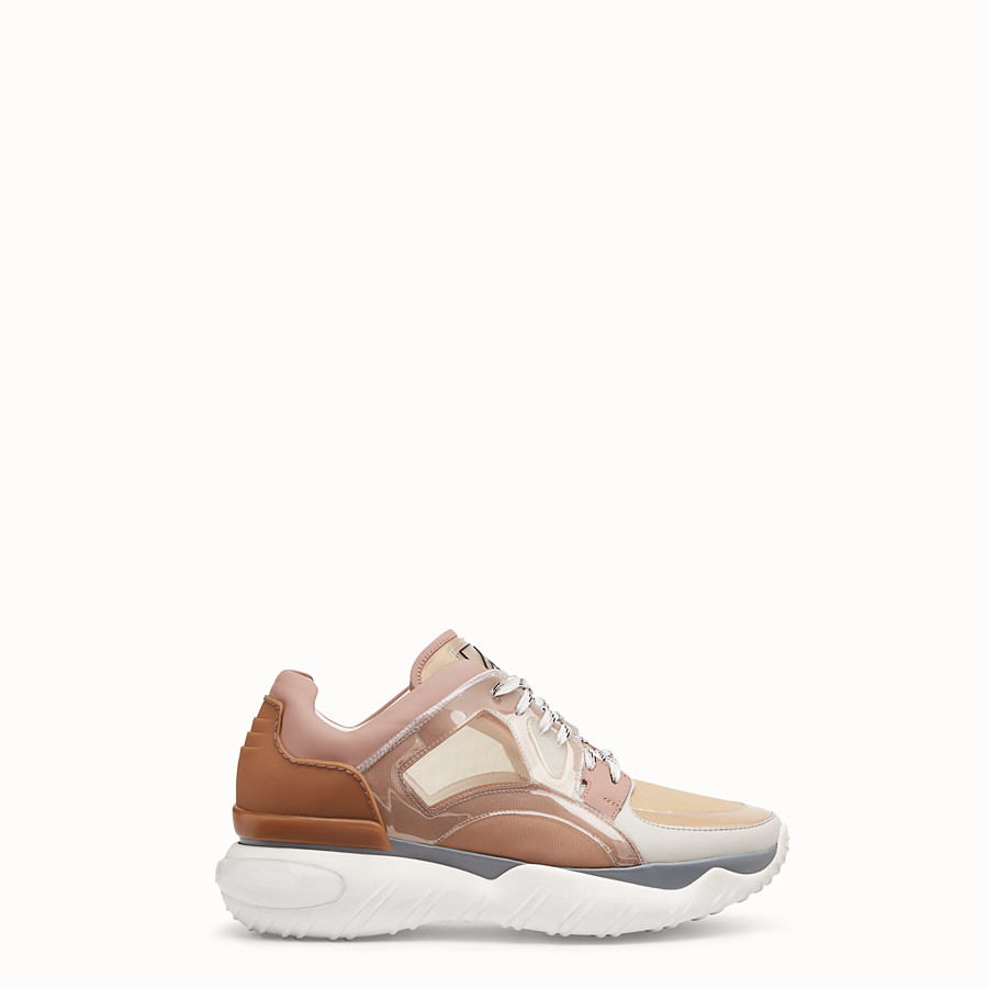 FENDI SNEAKERS - Beige technical mesh, leather and vinyl sneakers - view 1 detail