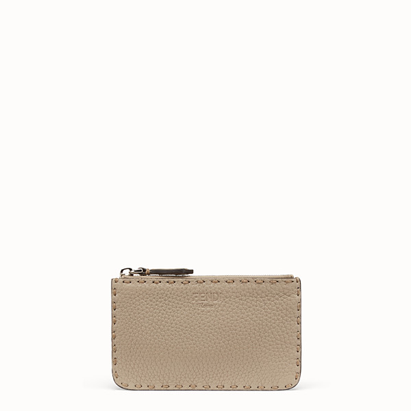 FENDI KEY RING - Beige leather pouch - view 1 small thumbnail