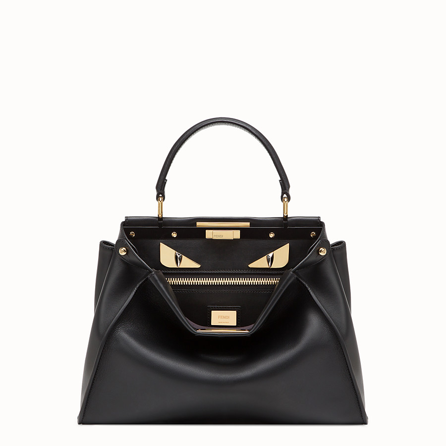 FENDI PEEKABOO ICONIC MEDIUM - Black leather bag - view 1 detail