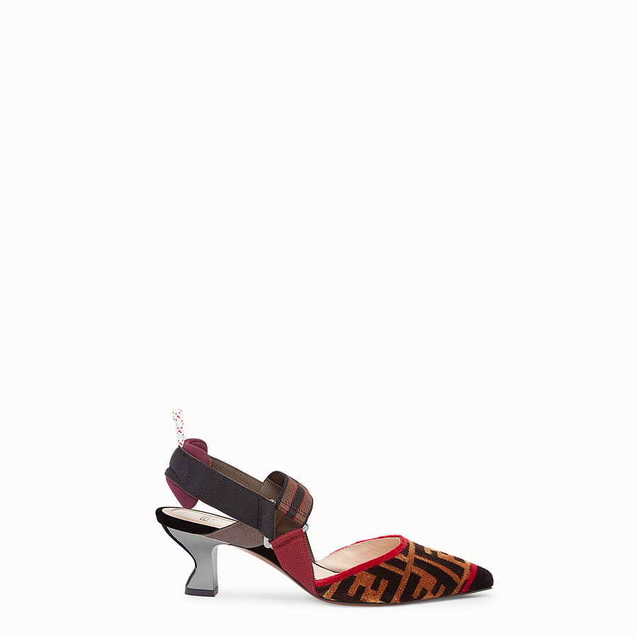 FENDI COURT SHOES - Multicolour fabric slingbacks - view 1 detail