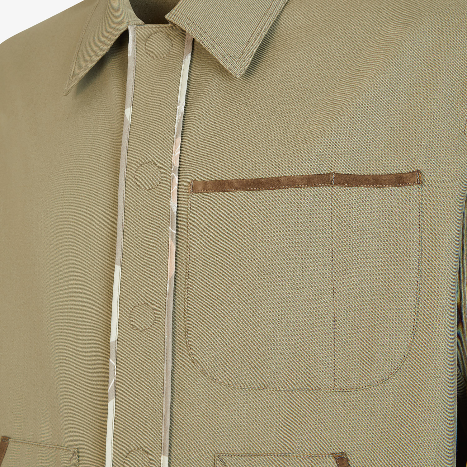 FENDI JACKET - Green twill blouson - view 3 detail