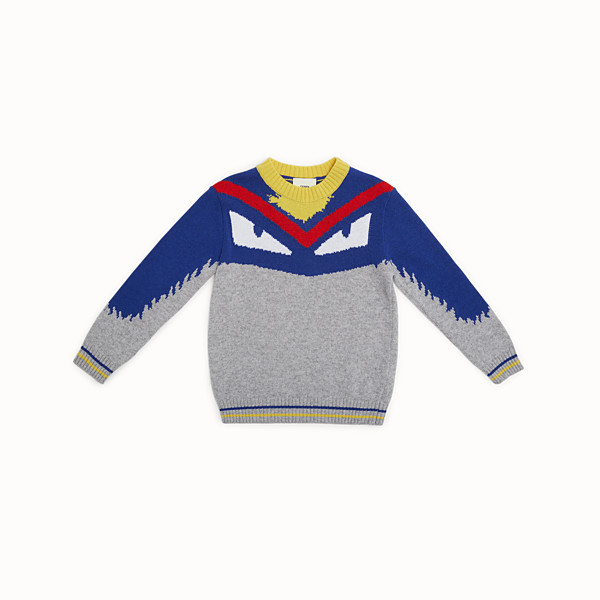 FENDI SWEATER - Junior boy's grey and multicolour wool blend jumper - view 1 small thumbnail