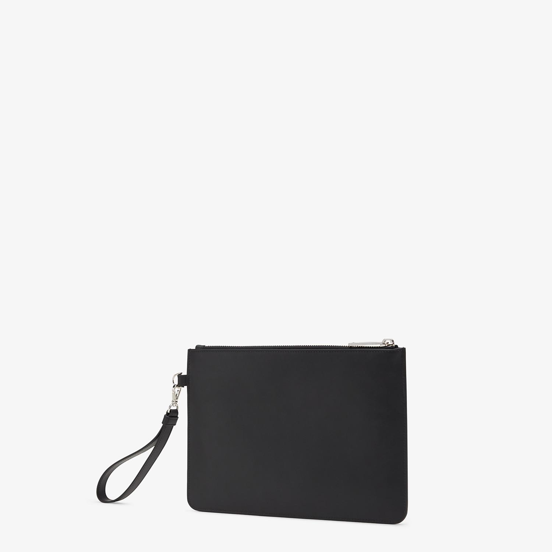 FENDI POUCH - Smooth black leather pochette - view 2 detail