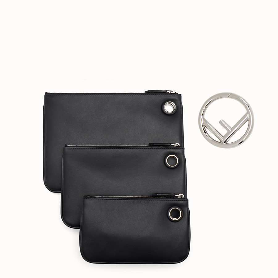 FENDI TRIPLETTE - Black leather clutch - view 3 detail