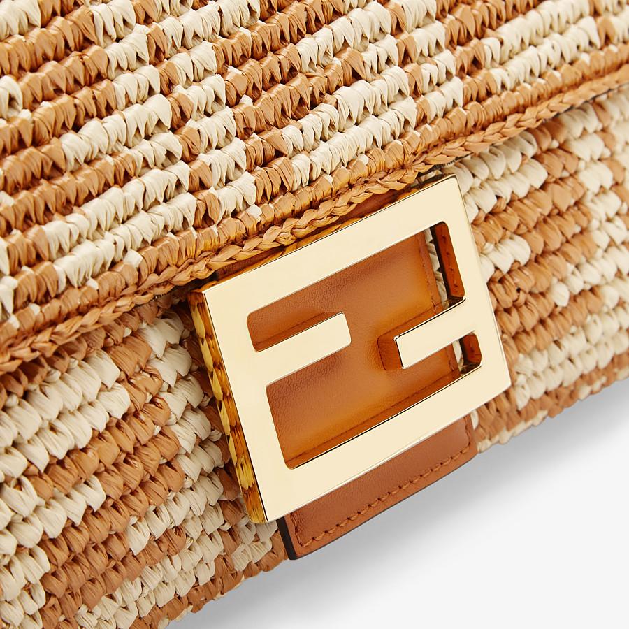FENDI BAGUETTE LARGE - Ochre FF raffia bag - view 5 detail