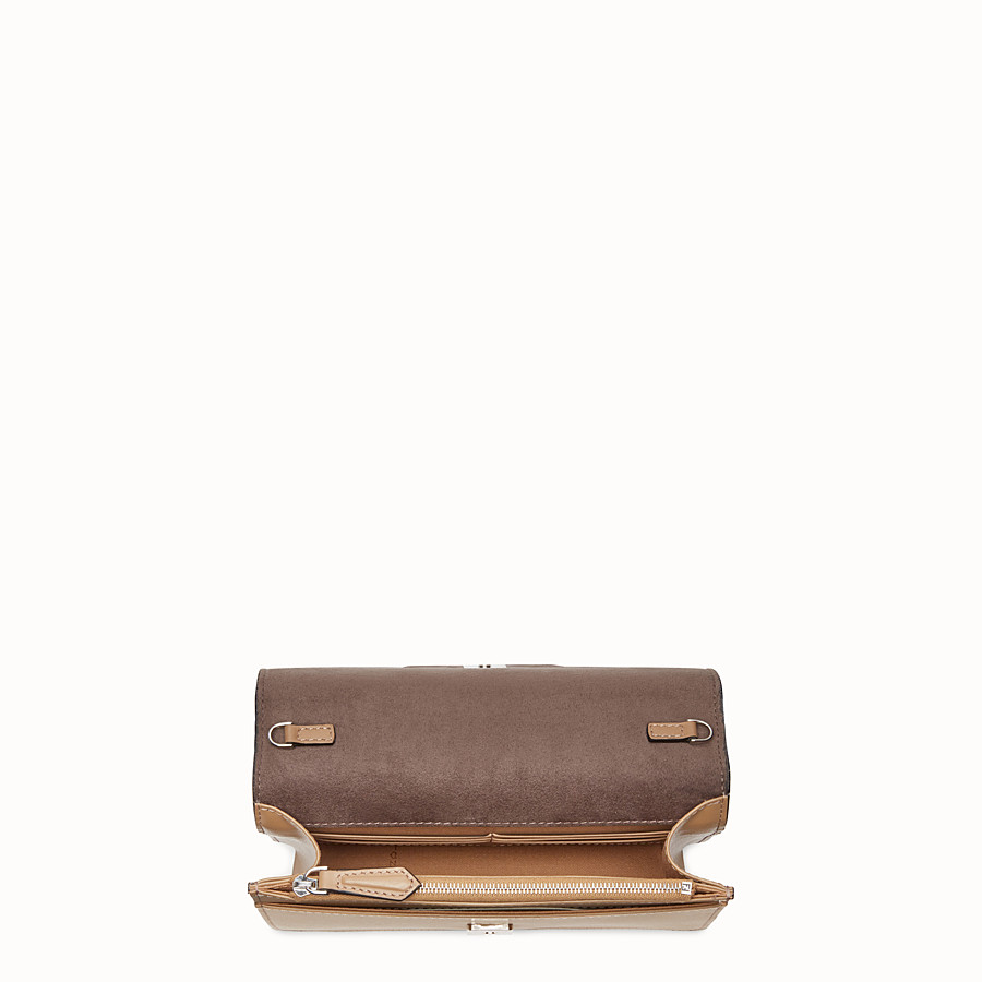 FENDI WALLET ON CHAIN - Studded wallet in sand-colour leather - view 4 detail