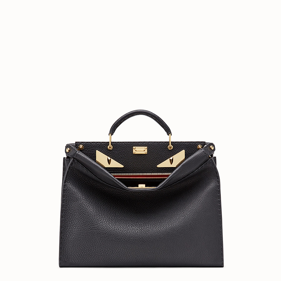 FENDI PEEKABOO FIT - Black Roman leather bag - view 1 detail