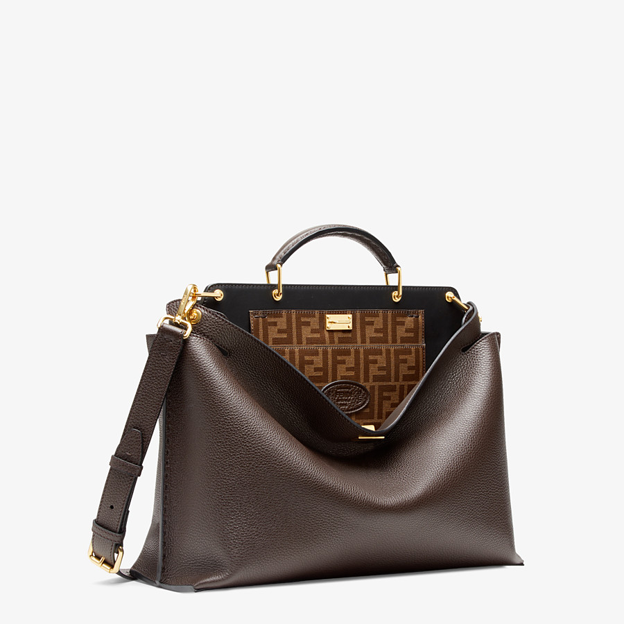 FENDI PEEKABOO ESSENTIAL - Brown leather bag - view 2 detail