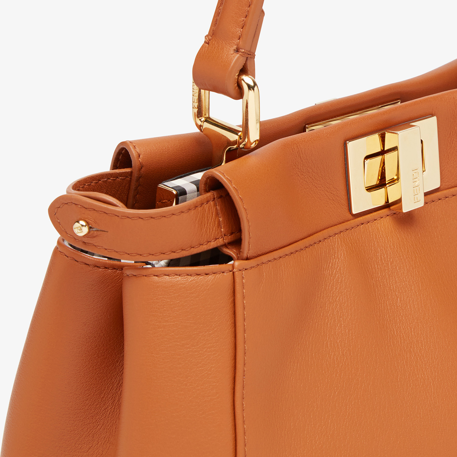 FENDI PEEKABOO ICONIC MINI - Brown nappa leather bag - view 6 detail
