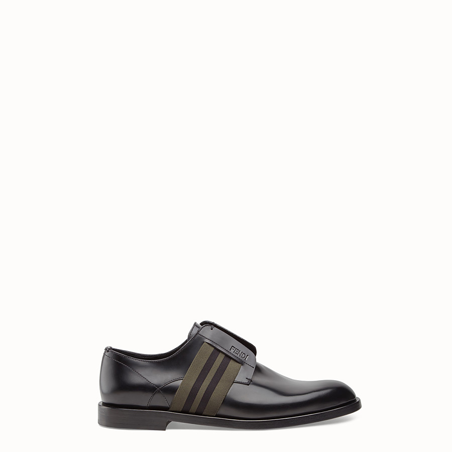 FENDI DERBY SHOES - Black leather slip-ons. - view 1 detail