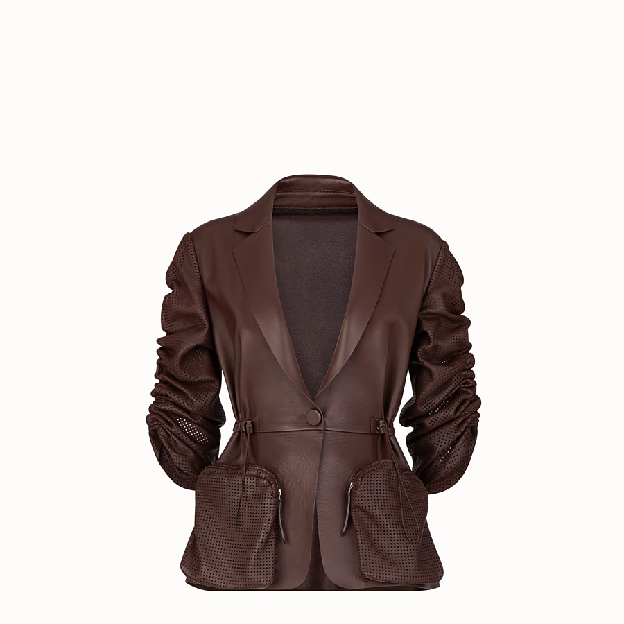 FENDI JACKET - Brown nappa leather jacket - view 1 detail
