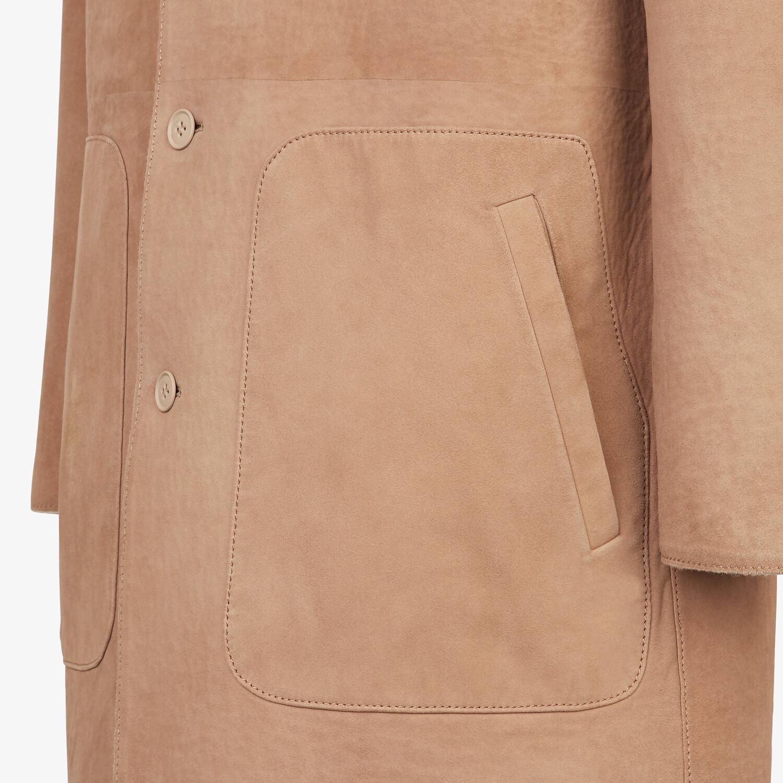 FENDI COAT - Beige suede coat - view 3 detail
