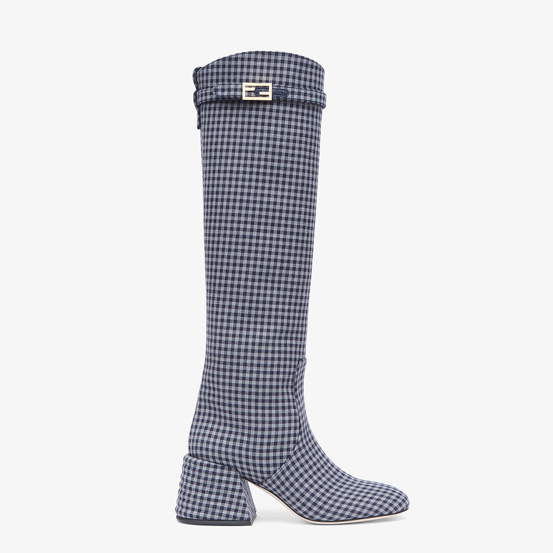 FENDI PROMENADES - Grey Vichy fabric boots - view 1 detail