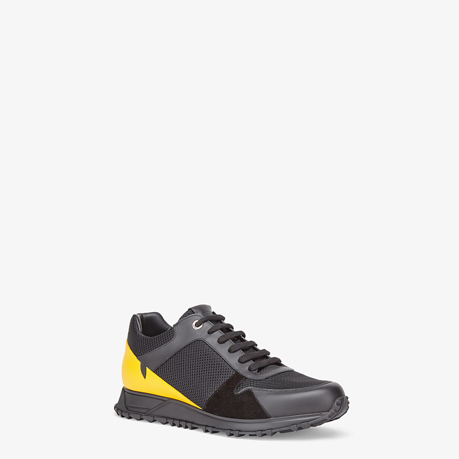 FENDI SNEAKERS - Black mesh and leather low-tops - view 2 detail