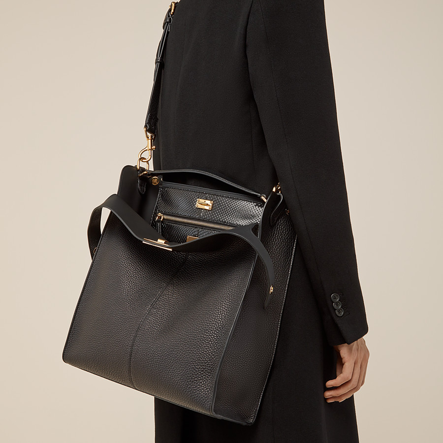 FENDI PEEKABOO X-LITE FIT - Black Romano leather bag - view 6 detail