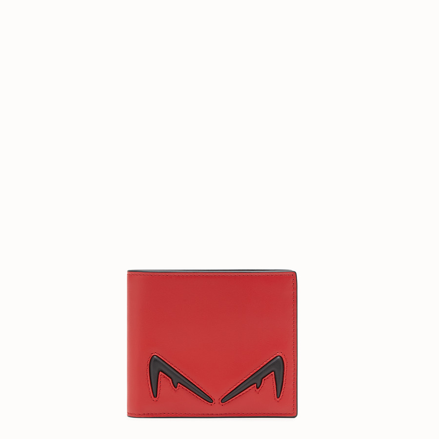 FENDI WALLET - Red leather bi-fold wallet - view 1 detail