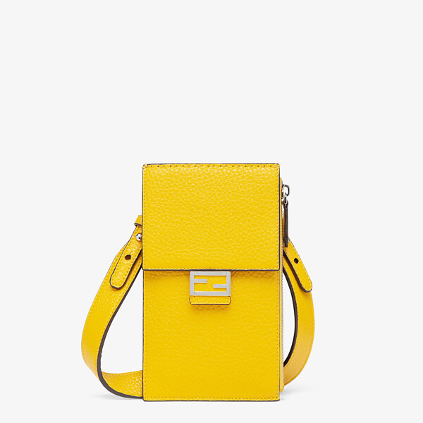 Yellow leather mobile phone holder